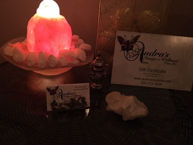 Day spa gift certificate by salt lamp